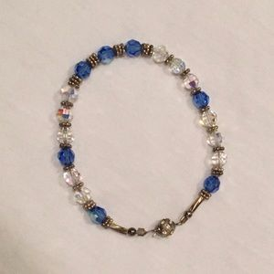 Crystal Clear and Blue Swarovski Crystal Bracelet